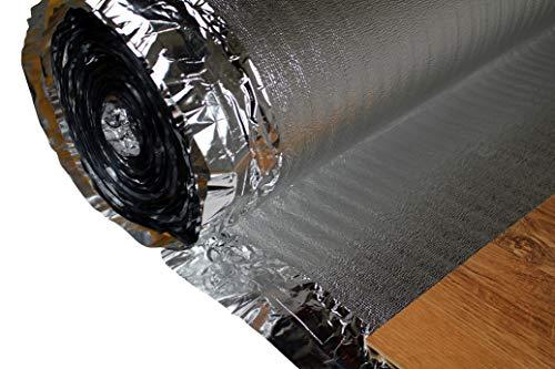 HEXIM Trittschalldämmung - integrierte Alu Kaschierung für Parkett- und Laminatböden - Silver Plus, 25 m² pro Rolle (2mm, 50 Quadratmeter)